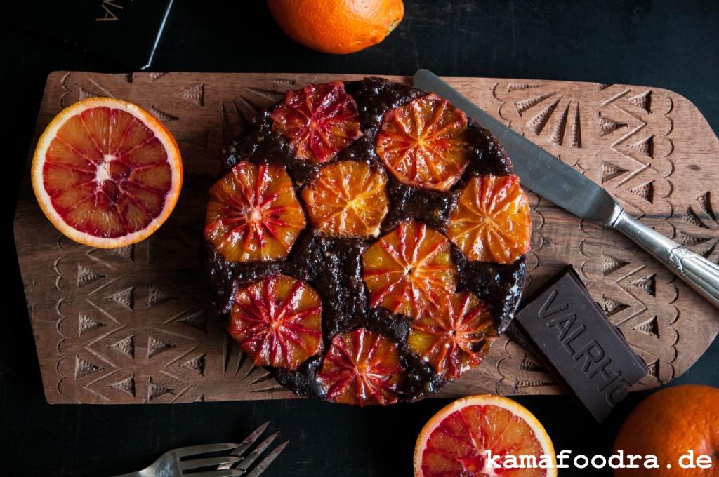 Upside Down Kuchen Mit Blutorangen Schokolade Und Ricotta Kamafoodra